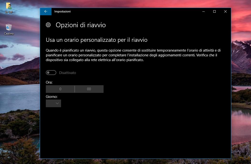 Opzioni di Riavvio Aggiornamenti Windows Update