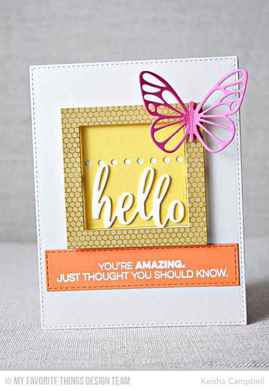 Handmade card from Keisha Campbell featuring Amazing stamp set, Mini Hexagon Background stamp, Flutter of Butterflies - Lace, Thanks & Hello, Horizontal Stitched Strips, Square Frames, and Blueprints 25 Die-namics #mftstamps