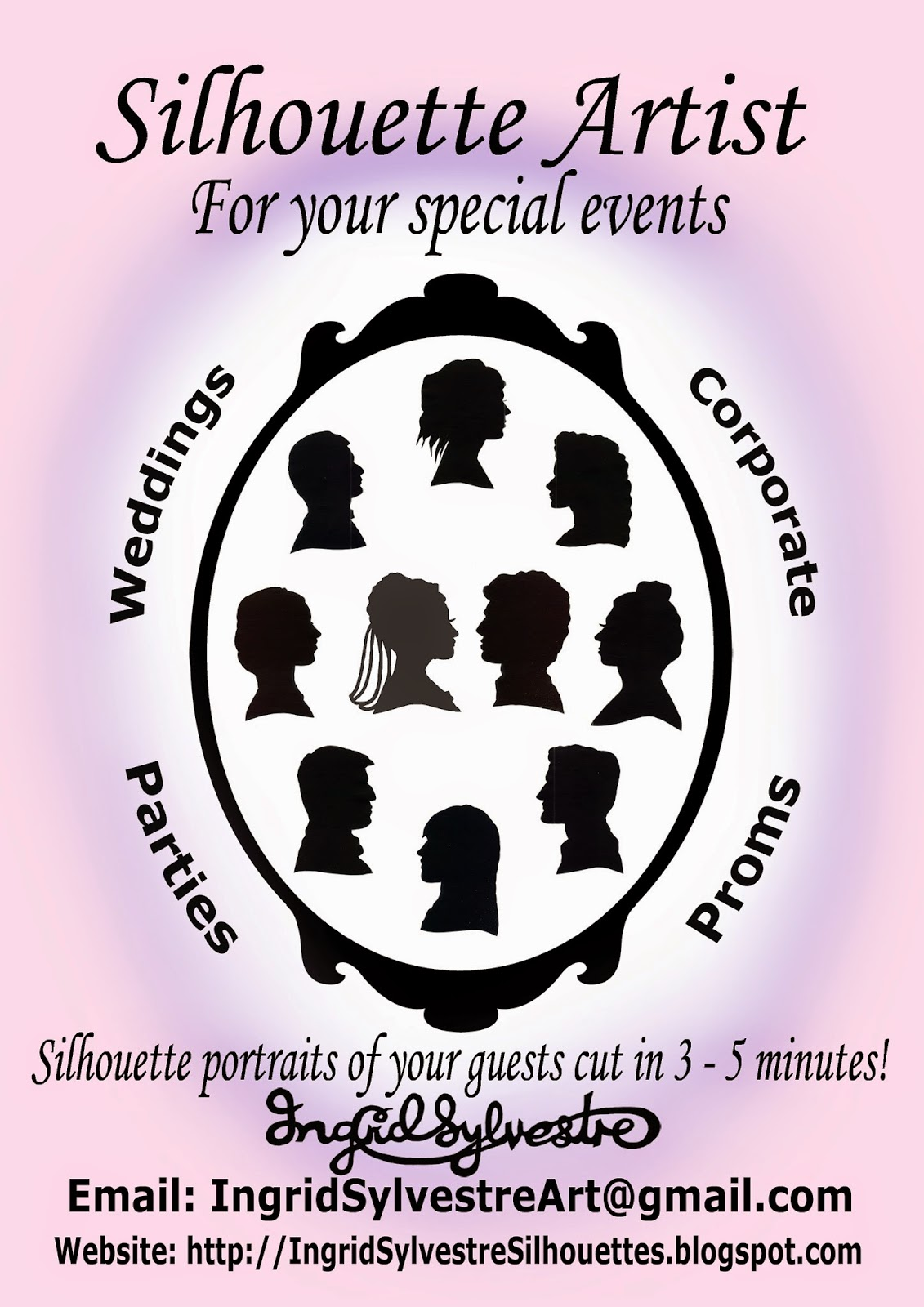 Ingrid Sylvestre Wedding Entertainment Silhouettes Caricatures Wedding Silhouettes