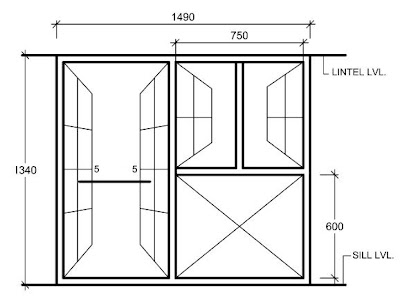 Typical Sectional Elevation Of A Wooden Window