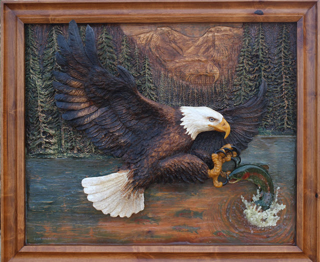 Bas relief and wood carving by Dyke Roskelley
