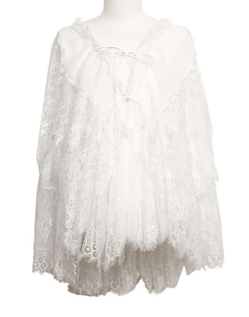 Eyelash Lace Self-Tie Cover-Up Top