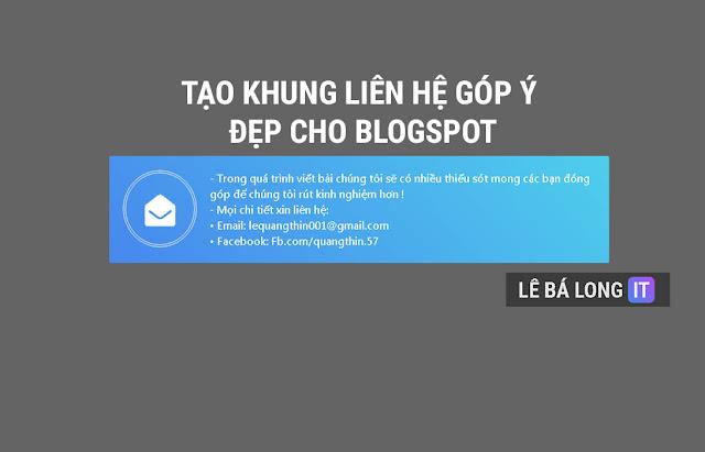 Tạo khung liên hệ nhận góp ý cực đẹp cho blogspot