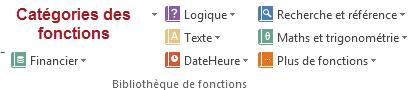Catégorie des fonctions Excel
