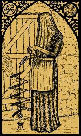 Sabbat Samhain: Bruxa consagrando sua corda