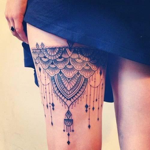 dantel dövmeleri mandala garter lace tattoos