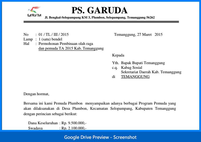 Contoh Surat Permohonan Bantuan Pengadaan Alat Olah Raga Dilengkapi Proposal