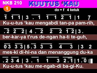 Lirik dan Not NKB 210 'Ku Utus Kau