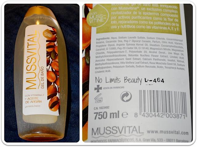 Gel de Baño con aceite de argán de Mussvital