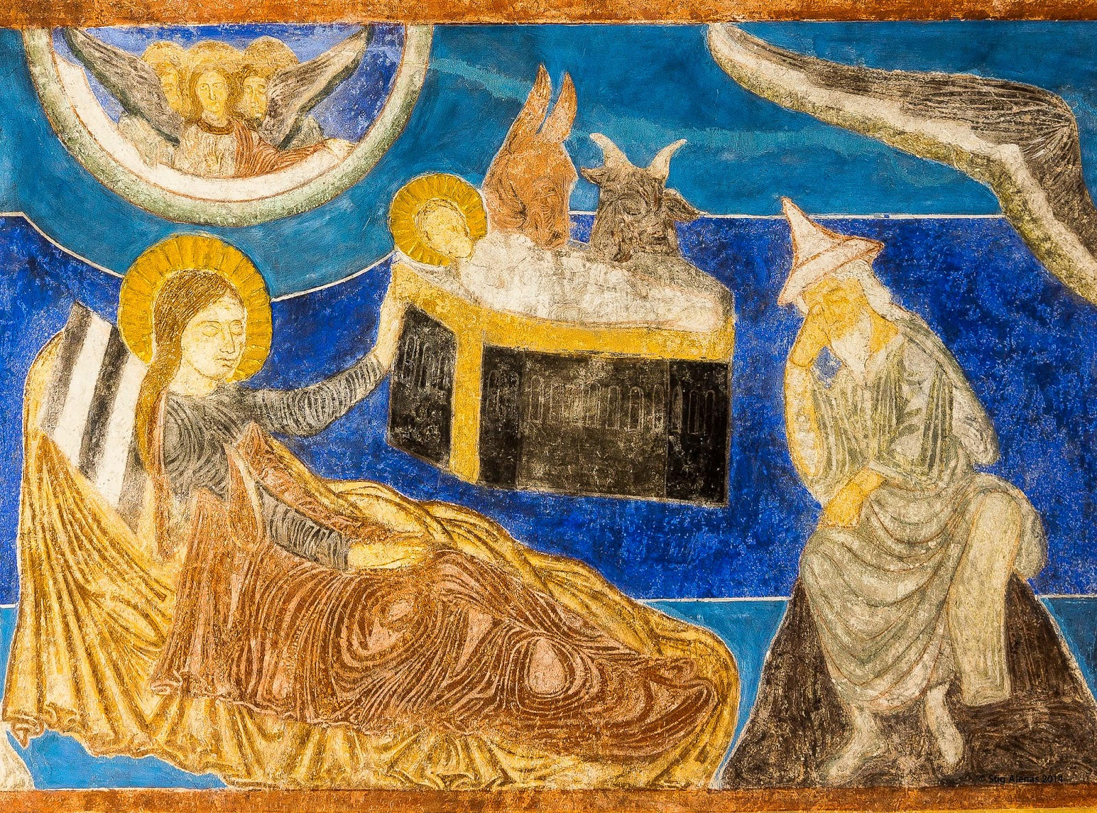 birth, medieval, baby, mural, joseph, nativity, christian, holiday, night, xmas, jesus, christmas, editorial, sweden, stable, church, bible, christ, painting, ultramarine, fresco, religion, infant, byzantine, scene, child, savior, bethlehem, mary, romanesque, bjaresjo, https://www.shutterstock.com/image-photo/byzantine-fresco-bjaresjo-church-sweden-sept-531577678