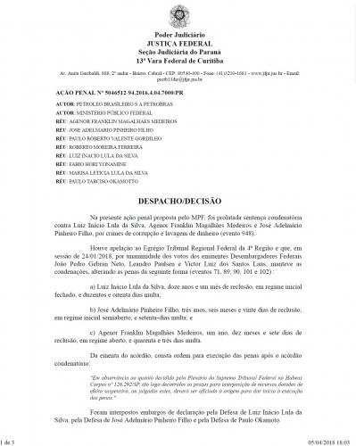 Confira abaixo a ordem de prisão expedida pelo juiz Federal Sergio Moro