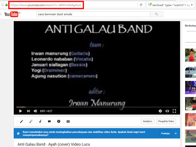 URL video youtube