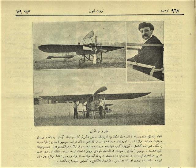 Servet-i Fünun dergisinde çıkan Bleriotun uçuşu ve kazası ile ilgili yazı