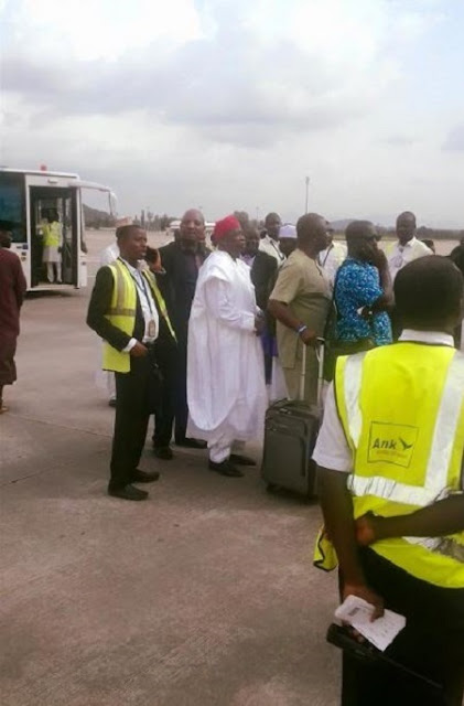 Kano Governor and Minister of Labour Spotted Boarding Commercial Plane in Abuja (Photos)