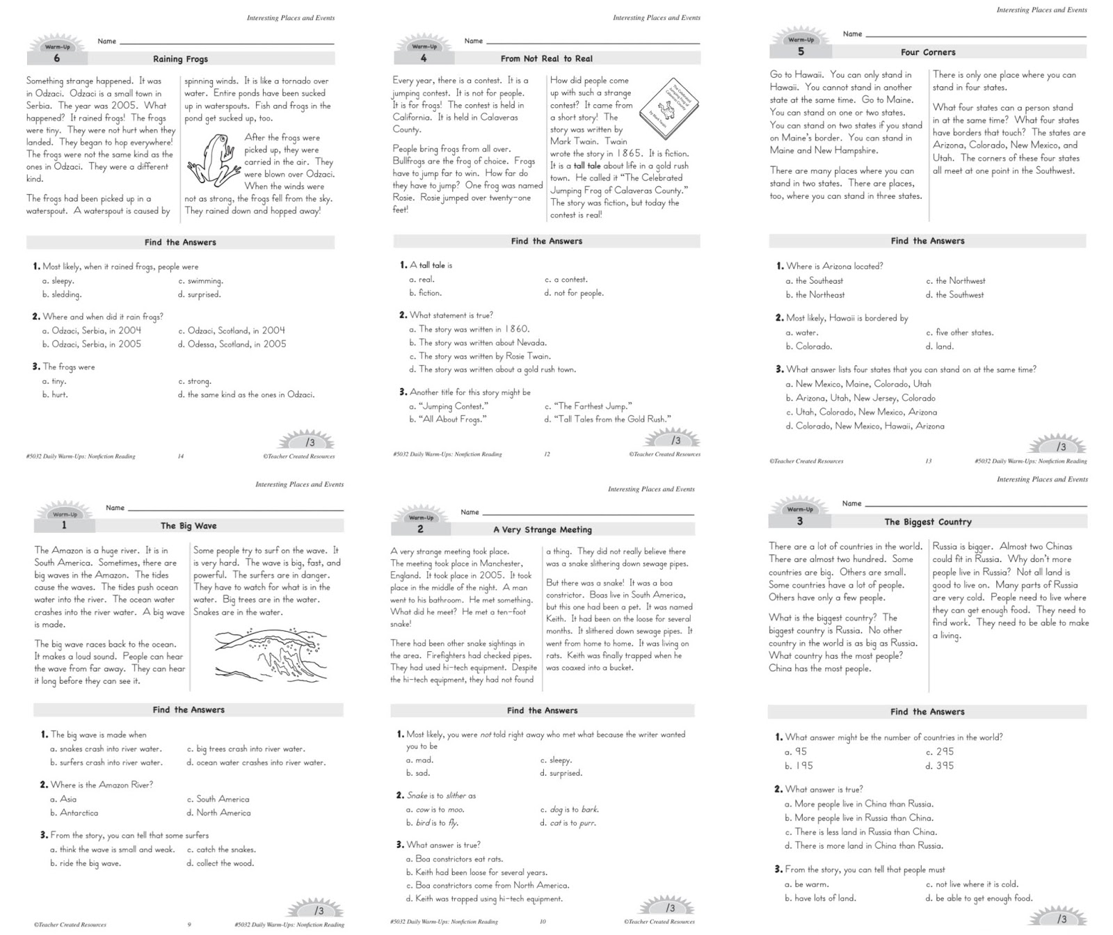 Reading Comprehension Non Fiction Reading Worksheets