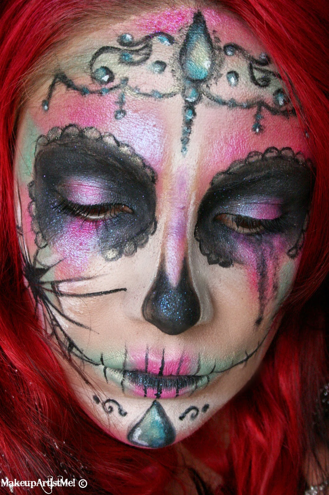Make Up Artist Me Broken Catrina Halloween Makeup Look