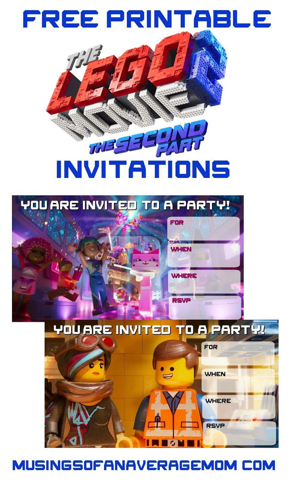 graphic relating to Printable Lego Invitations named Musings of an Regular Mother: Lego Video 2 Invites