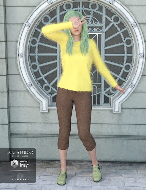 Angora Sweater Outfit for Genesis 3 Female