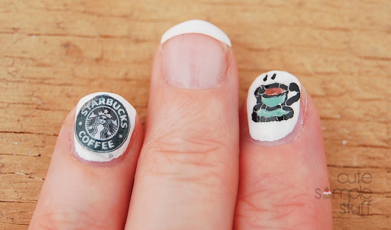 Coffee Art Nails Cute Simple Stuff Monday Mani Starbucks Coffee Inspired