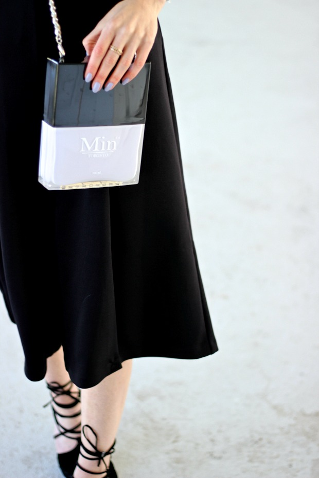 MIN Design Nail Polish Clutch, black culottes, black lace up heels