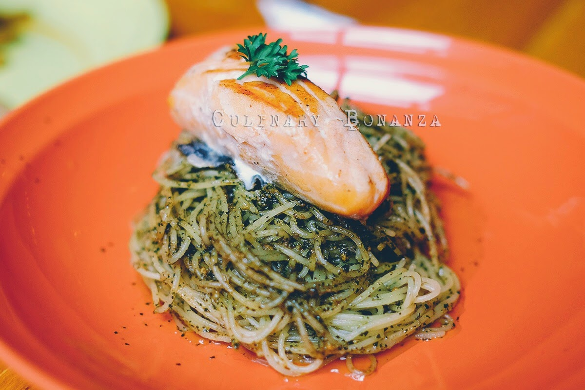 Grilled Salmon with Angel Hair Pesto