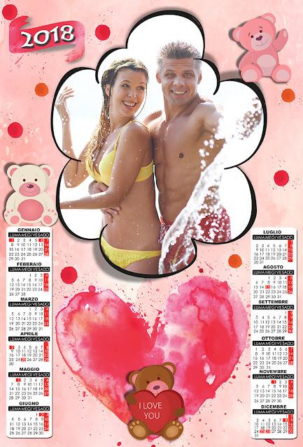 Calendario 2018, innamorati
