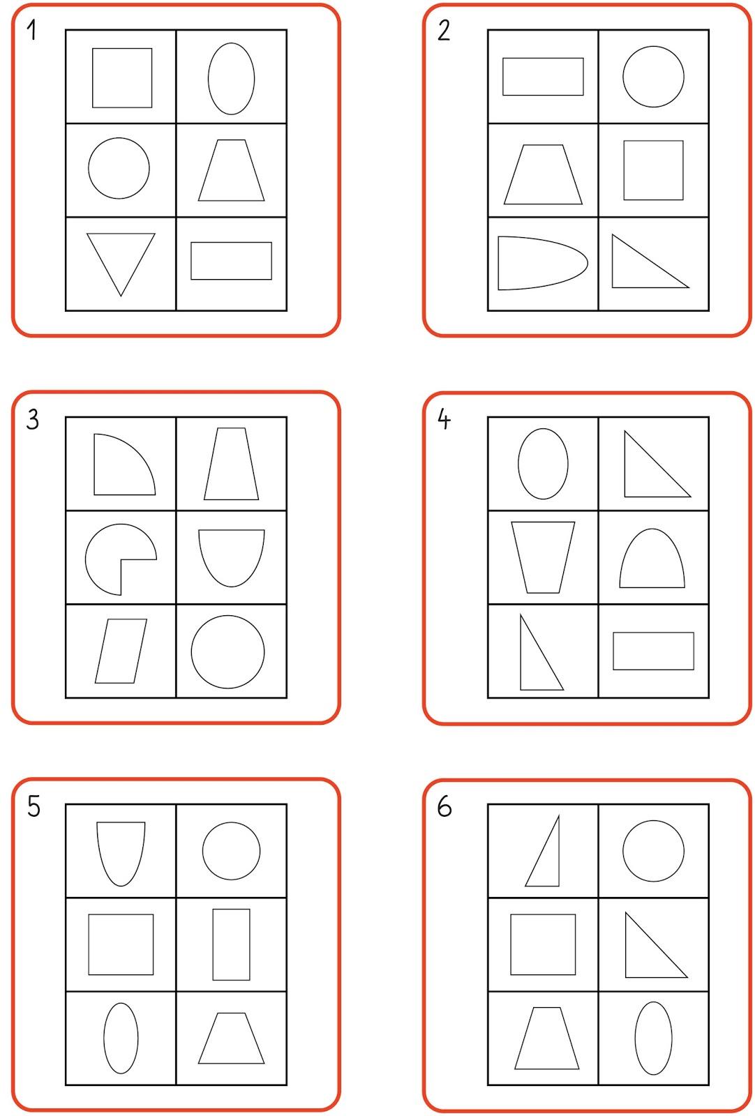 6 Formen 6 Felder Kärtchen 1-12-1