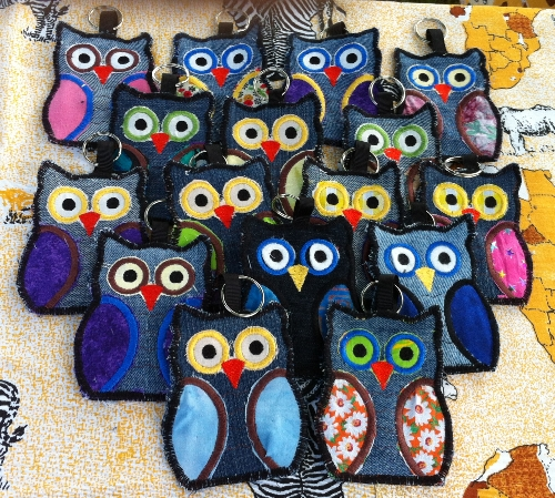 Owl Keyrings made from fabric and denim