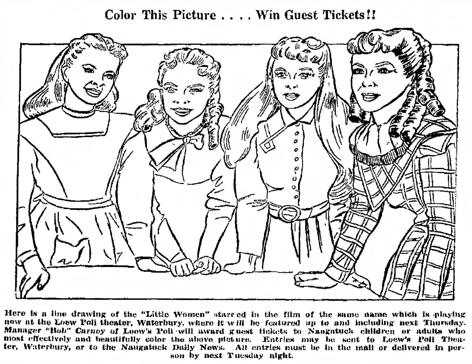 Mostly Paper Dolls Another Little Women Coloring Contest