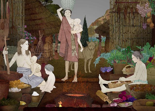 mujeres, preparando alimentos edad del cobre