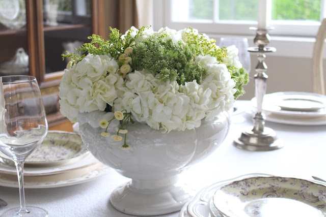 spring floral tablescape centerpiece white ironstone tureen white and green floral display