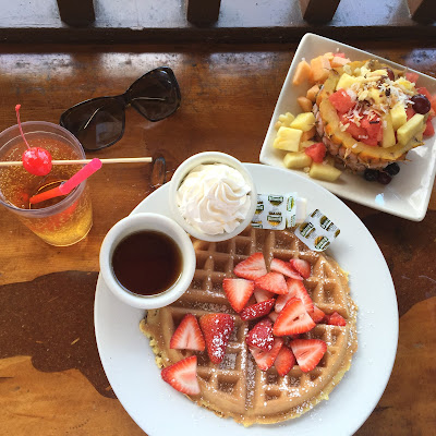 Belgian Waffle and Fruit Bowl from Lulu's Waikiki