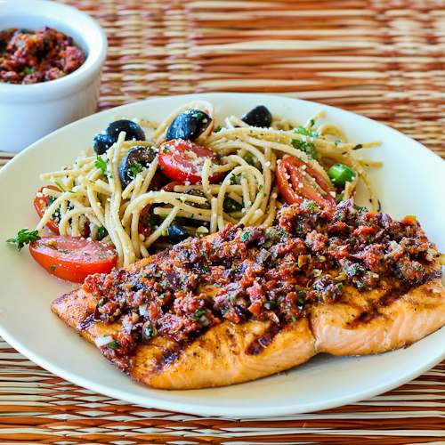 Grilled Salmon With Sun-Dried Tomato, Olive, Caper, And