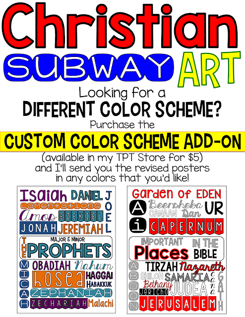 Looking for something fun, decorative, and meaningful to display in your Christian school or Sunday school classroom? Well, look no further - these Christian Subway Art posters are the just-right thing for you! Packet includes 10 color and black and white posters to display and/or color. Created by Jessica Lawler.
