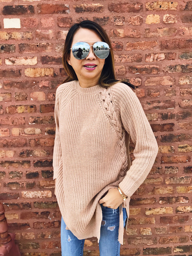How to style a fall sweater, best sweater for fall beige long sweater dress