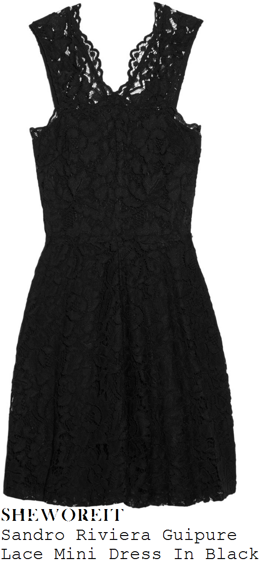 holly-willoughby-sandro-riviera-black-sleeveless-guipure-lace-mini-dress
