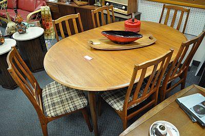 antiques on kent sold c 1960 teak dining table with fold out leaf. Black Bedroom Furniture Sets. Home Design Ideas