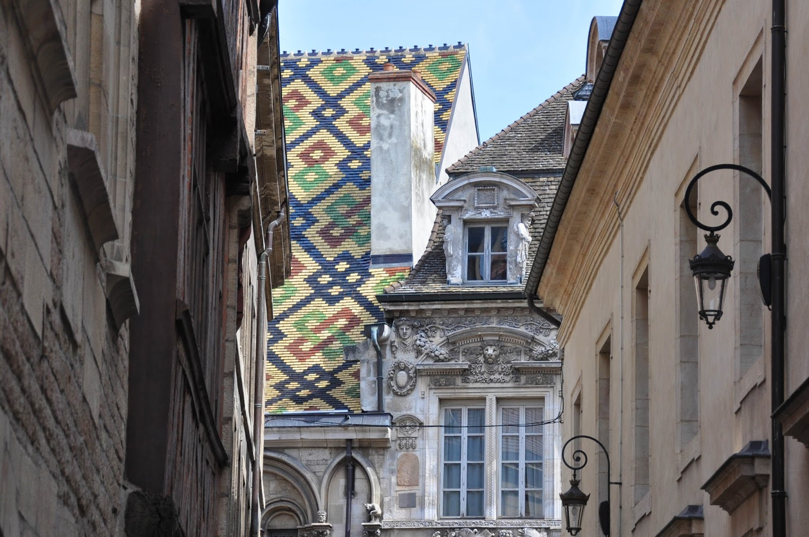 A glimpse of a roof with a colourful geometric pattern, Dijon, Burgundy, France