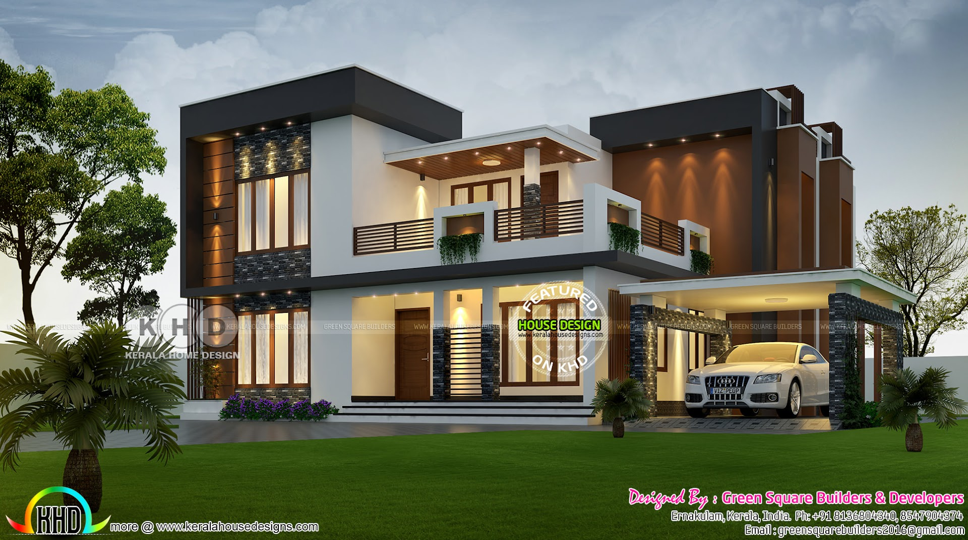 2423 Square Feet 4 Bhk Contemporary Home Plan Kerala