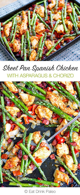 Sheet Pan Roasted Asparagus & Chicken With Chorizo