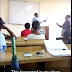 A Lecturer at Unilag spotted flogging a student who came late to class
