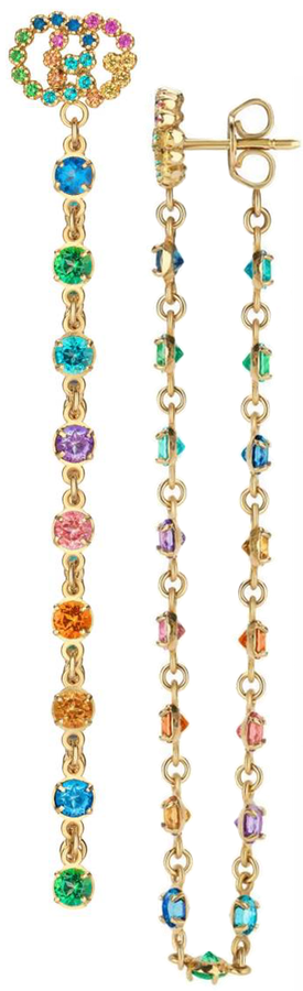 Gucci Double-G Multistone Chain Stud Earrings