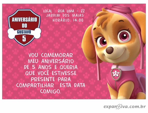 Convite Patrulha Canina em São Paulo
