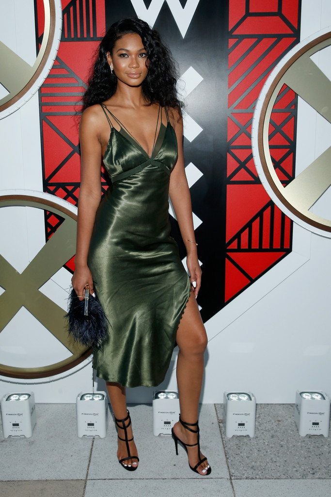 chanel iman green silk dress w amsterdam