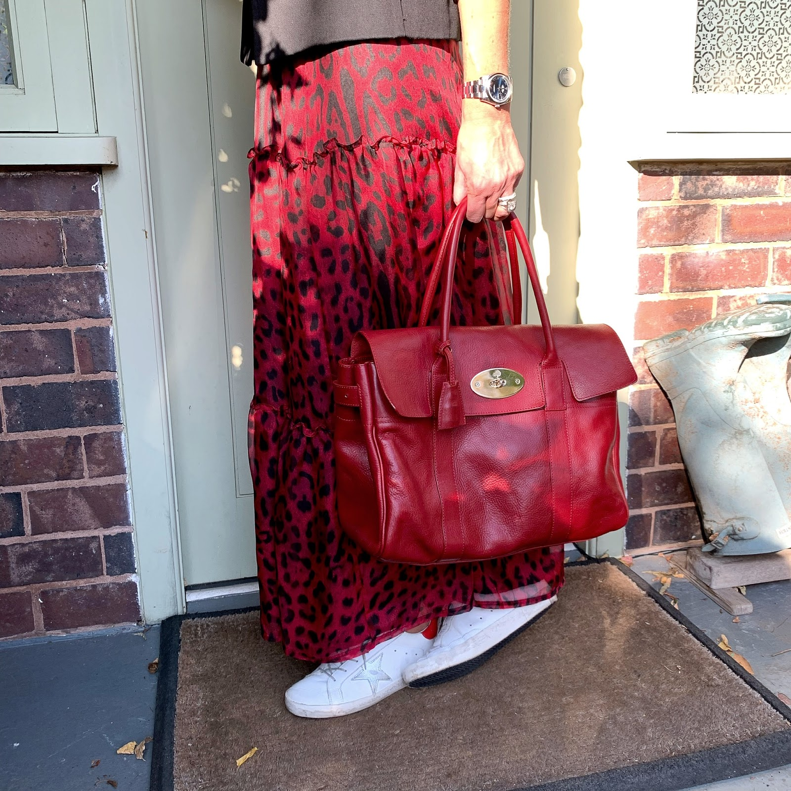my midlife fashion, isabel marant etoile military jacket, zara lace trim camisole, mulberry bayswater, and other stories waist buckle belt, ridley london carmen skirt, leopard print maxi skirt, golden goose superstar low top leather trainers