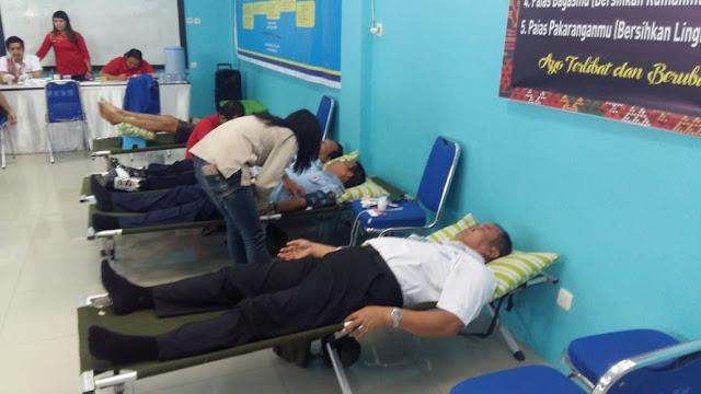 BMemperingati HUTt RI Ke-73 Lembaga Pemasyarakatan (Lapas) Kelas I Medan mengadakan bhakti sosial Kemanusiaan yakni donor darah bersama Warga Binaan Pemasyarakatan (WBP), Rabu (15/8/2018)