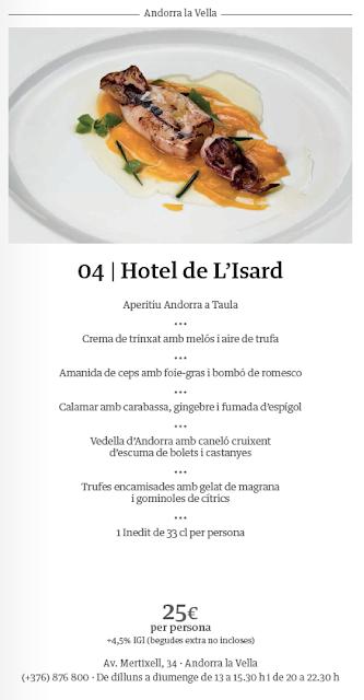 Menú Hotel de L'Isard