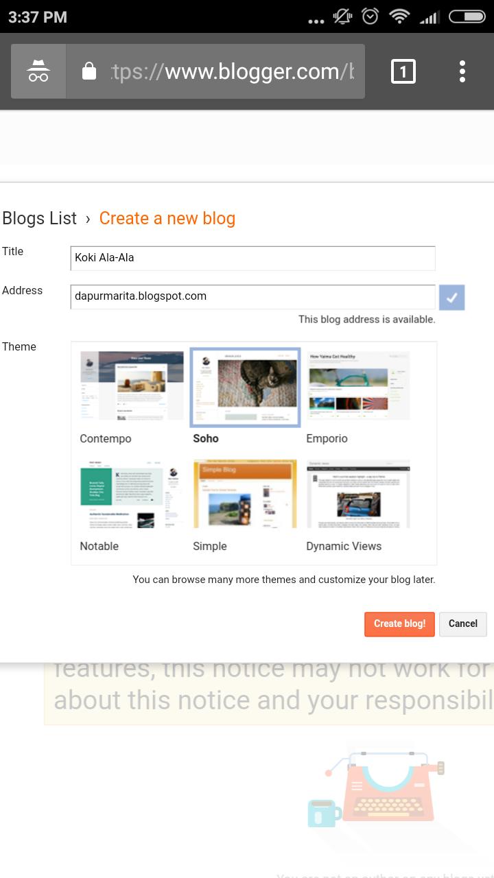 cara mudah membuat blog di blogspot pilih judul dan url