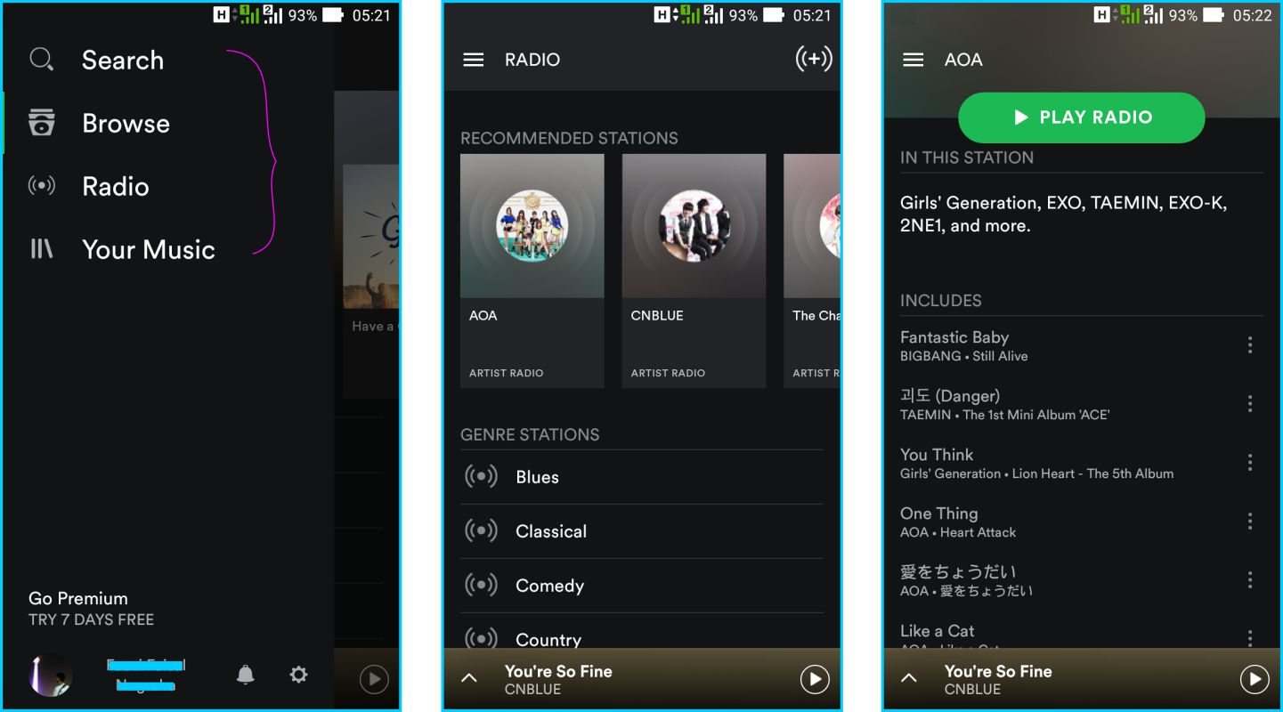 Spotify - Sidabar Menu dan Radio Playlist