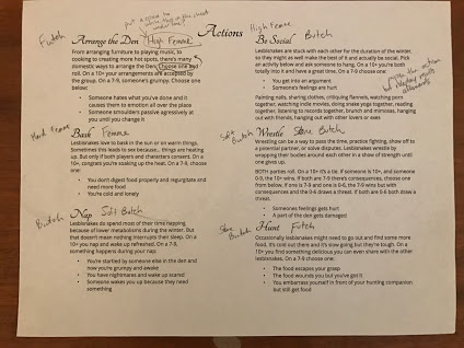 a sheet of paper titled Actions with various actions described for characters to take in A Cozy Den.